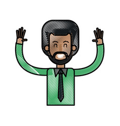 drawing afro man happy with up arms design vector image vector image