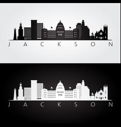 jackson usa skyline and landmarks silhouette vector image