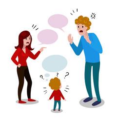 Parents quarrel with child cartoon vector