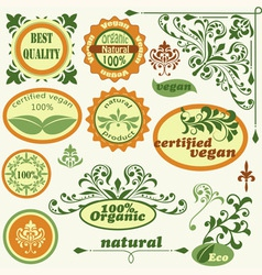 retro style labels and floral design elements vector image vector image
