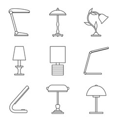 Set of table lamp icon vector