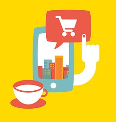 shopping in the big city online vector image