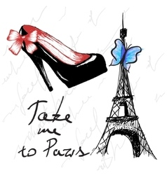 Vintage poster with woman shoe and eiffel tower vector image vector image