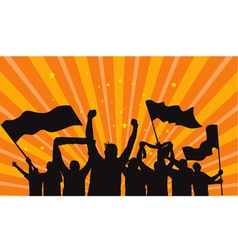 crowd fans silhouettes vector image vector image