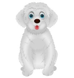 Cute white dog cartoon vector image vector image
