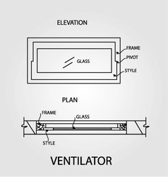 Diagram of a ventilator showing plan and elevation vector image