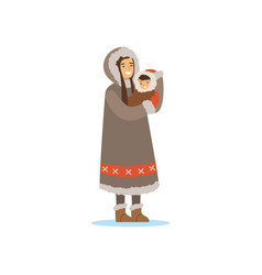 eskimo inuit chukchi woman in traditional vector image