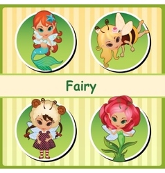 Four cute fairies - mermaid bee lamb and flower vector image