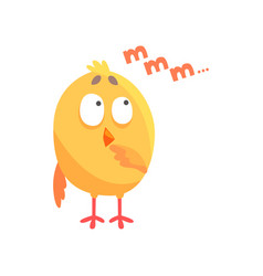 funny thoughtful cartoon comic chicken vector image vector image