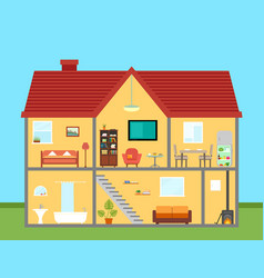furniture on house in cut with furnishing rooms vector image vector image