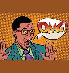 omg black man businessman pop art style vector image vector image