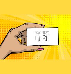 pop art comic text business card girl woman hand vector image