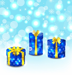 Set blue gift boxes with yellow bows vector image