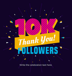 10k or 10000 followers card banner post template vector