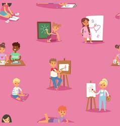 artist kids children painting making art vector image