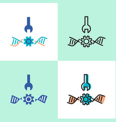 bioengineering concept icon set with dna spiral vector image