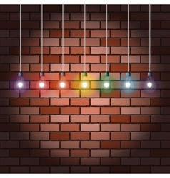 Brick wall and light bulbs vector