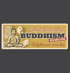 buddhism religion and enlightenment books store vector image