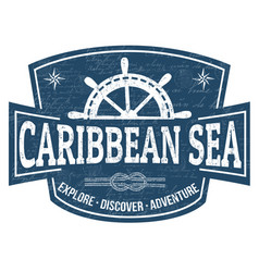 Caribbean sea sign or stamp vector