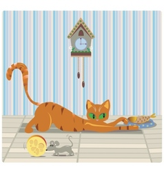 Cat and Mouse having Lunch vector