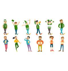 caucasian sport fans set vector image