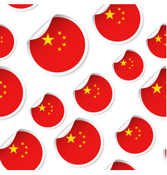 china flag sticker seamless pattern background vector image
