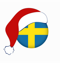 Christmas flag sweden in circle shape isolated vector
