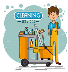 cleaning service staff vector image