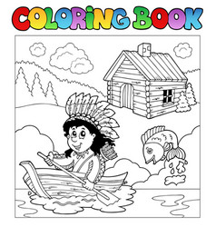 Coloring book with indian in boat vector
