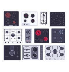 Cooking gas hob induction panel electric vector