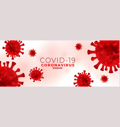Coronavirus infection banner with virus red cells vector