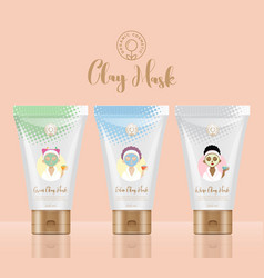 Cosmetic clay packaging concept tubes girls vector
