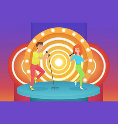 couple man and woman singers singing karaoke vector image