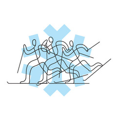 Cross-country skiing competition line art vector
