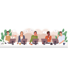 customers service call center hotline agents vector image