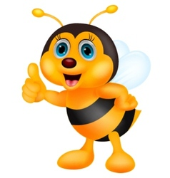 Cute bee cartoon thumb up vector