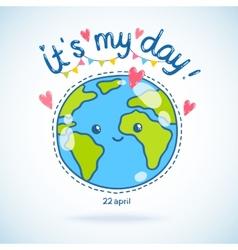 Cute cartoon Earth globe Earth day background vector image