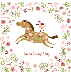 Cute Horse and little Bird vector