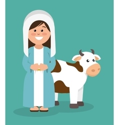 Cute virgin mary and cow vector