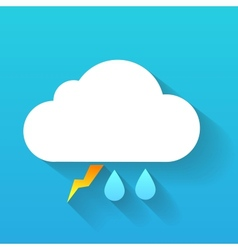 Day cloud lightning and double rain drops isolated vector