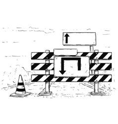 drawing of detour road block with empty blank sign vector image