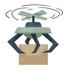 Drone delivering boxes automated delivery system vector