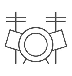 drum set thin line icon music and instrument vector image