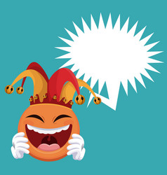 Emoticon smiling jester hat bubble speech vector