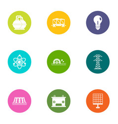 Energy is important icons set flat style vector