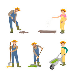 Farming people sowing set vector