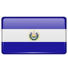 Flags El Salvador in the form of a magnet on vector image