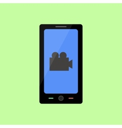 Flat style smart phone with video icon vector