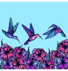 Flying tropical stylized hummingbirds with flowers vector image