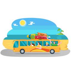 friends come public transport on coastline near vector image